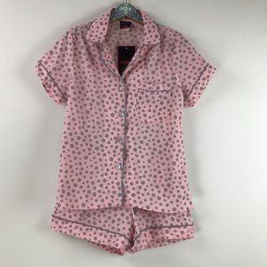 Bedhead Polka Dot Pink/Gray Shorty Pajama Set Sz S